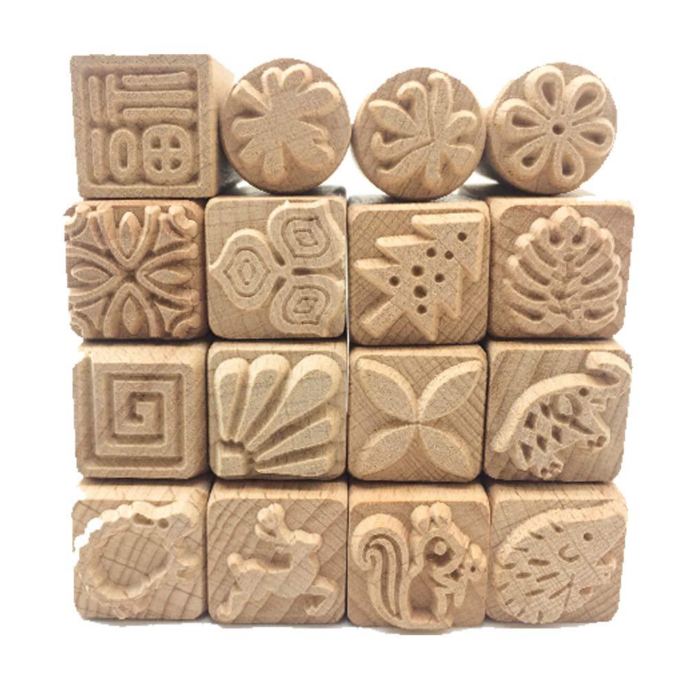 Echaprey Set of 16 Wooden Handle Pottery Tools Clay Modeling Pattern Stamp Kit Burlywood