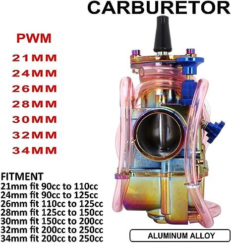Motorrad Pwk Vergaservergaser 21 Mm Für Honda Suzuki Kawasaki Yamaha 90 Cc Bis 110 Cc Atv Dirtbike Mehrfarbig Auto