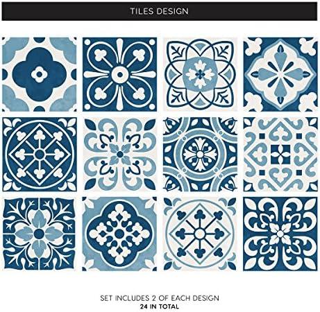 f/ür Badezimmer marokkanisch viktorianisch Mosaik-Stil zum Aufkleben auf Wandfliesen 10 St/ück Blau K/üche traditioneller Stil abziehen und aufkleben Retro-Stil LPS Fliesenaufkleber im Stil 5