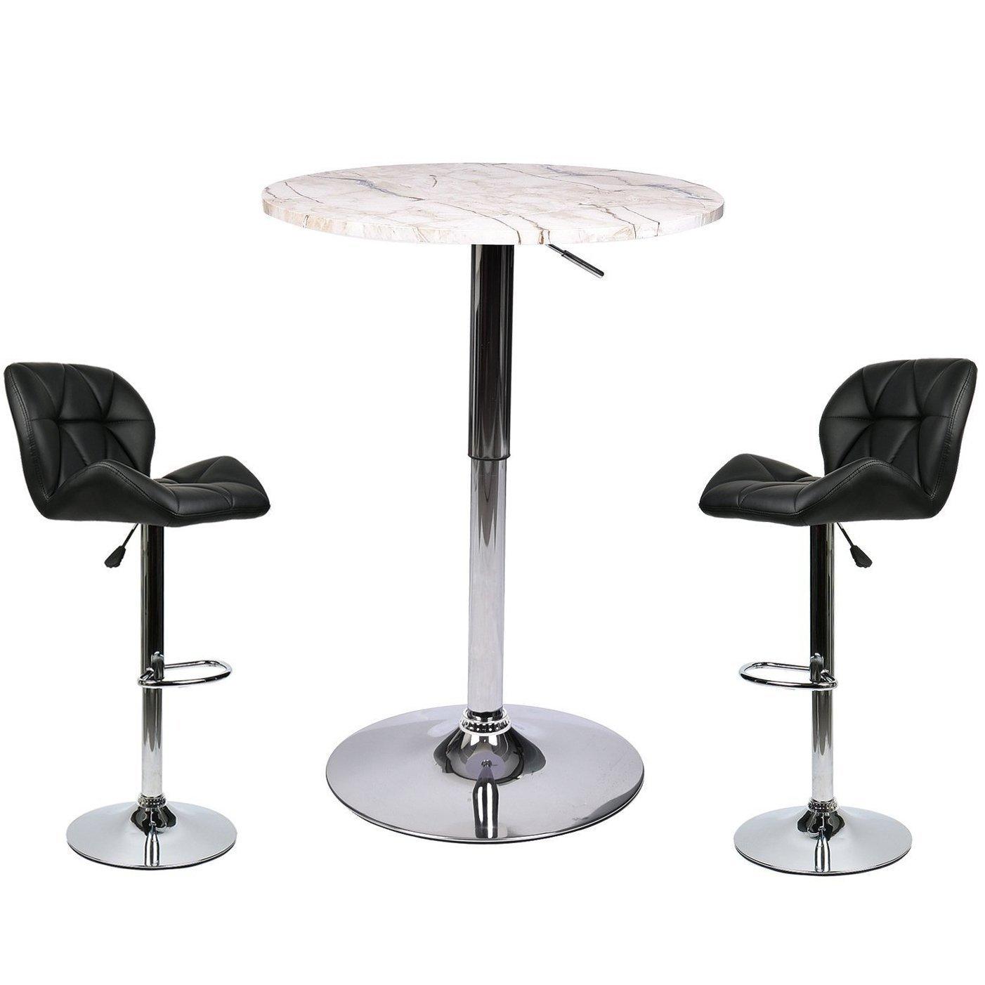Bar Table Stools Set - 3 Piece Pub Dining Kitchen Furniture (Black 3)