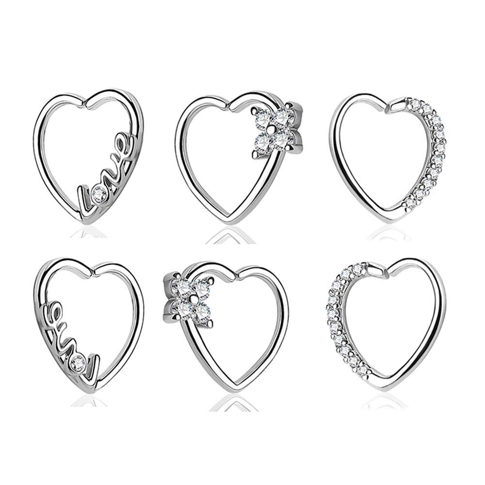 Leyung 3 Pairs 316L Surgical Stainless Steel Mixed Body Tragus Cartilage Earrings Septum Nose Hoops Daith Piercing Rings Cubic Zirconia Crystal Lovely Heart