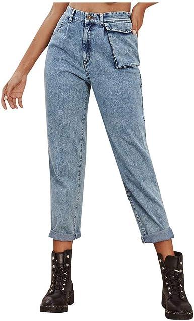 Zezkt Vaqueros Rectos Para Mujer Slim Fit Denim Jeans Largos De Bolsillo Pantalon Largo Pantalones De Mezclilla Casuales Sueltos Straight Jeans Amazon Es Ropa Y Accesorios