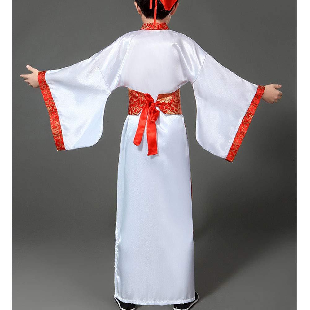 Unisex Ni/ños Traje Populark Infantil D/ía Escenario Cosplay Danza Rendimiento Tang Dinast/ía Vestido de Lujo Daytwork Chino Antiguo Real Hanfu