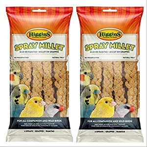 Higgins 2 Pack 6 Count Millet Spray for Birds 2 Bags Total, Fun Tasty Bird Treats Bird Snacks 79