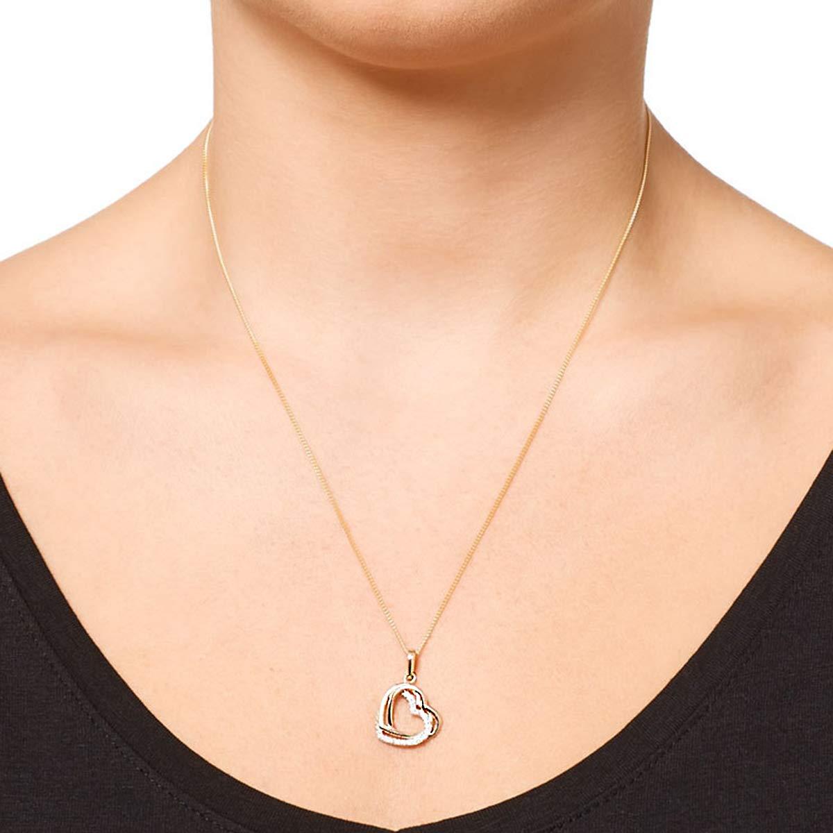 0.25 Ct Round Cut Simulated Diamond 14K Tri-Tone Gold Heart Pendant With 18 Chain .925 Silver