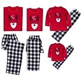 KOERIM Christmas Holiday Family Matching Pajamas Set Reindeer Patern Top+ Plaid Pants Cotton PJ Sets