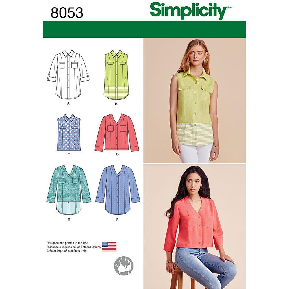 Simplicity 8053r5Schnittmuster Knopfleiste Shirt in Verschiedenen Ausführungen Schnittmuster, Papier