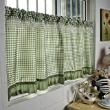 HongYa Checkered Curtain Panels Country House Cafe Net Curtain Kitchen Curtain Draw Cord, Green, H/B: 90/90 cm