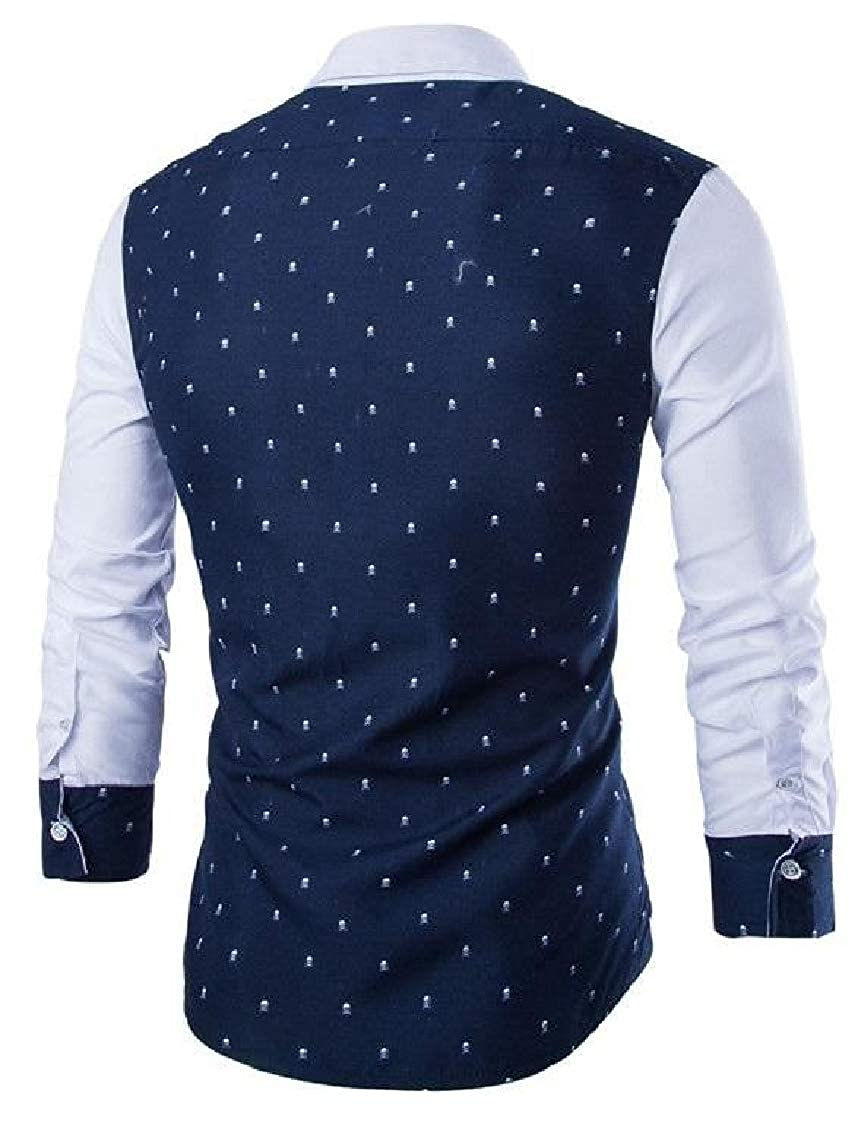 Hajotrawa Mens Slim Fit Contrast Color Long Sleeve Button Down Print Shirts