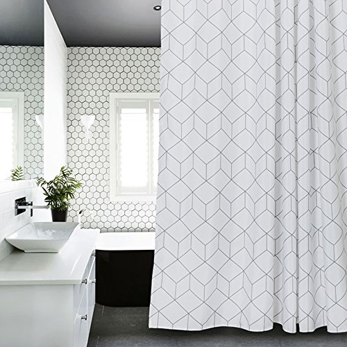 Cube Fabric Shower Curtain White for Bathroom, Waterproof 72-inch x 72-inch