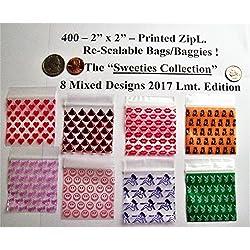 "400-2"" X 2"" Mini-ZipL. Printed Bags-8 Mixed Combo ""Sweeties Collection"""