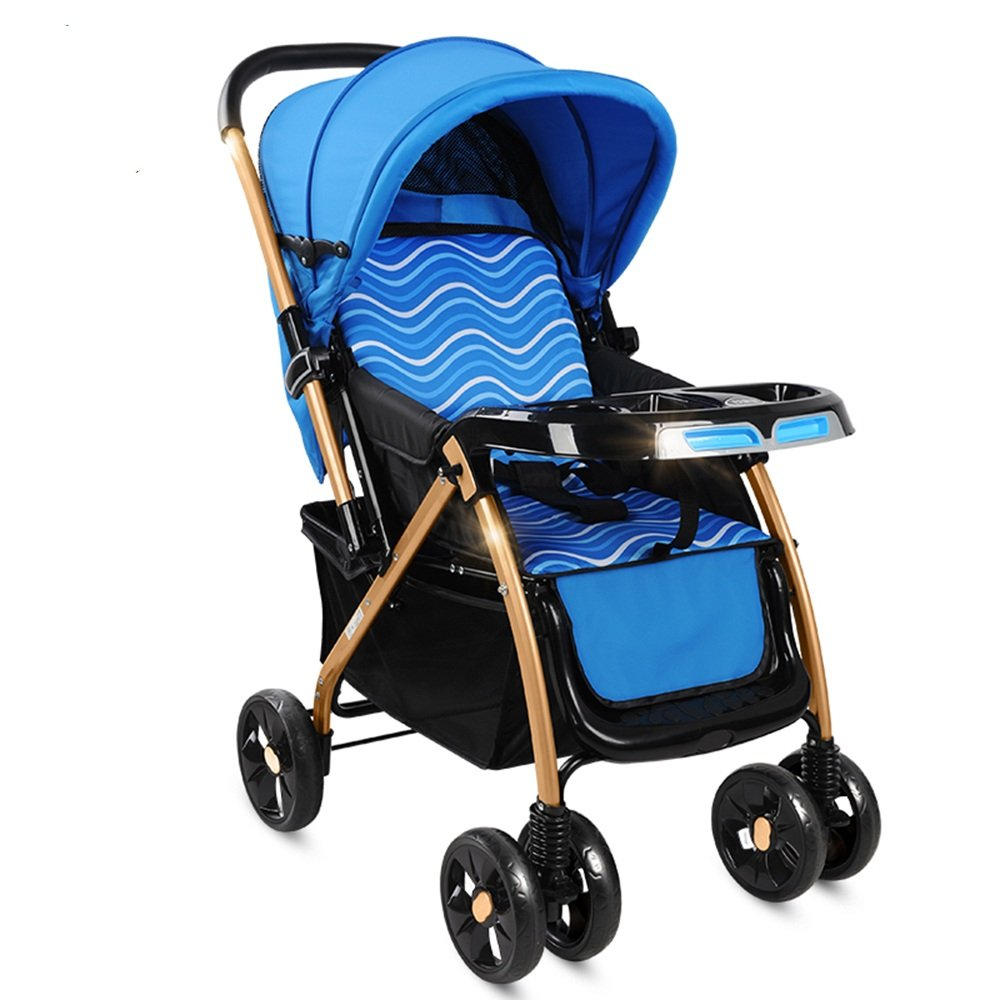 HAIZHEN マウンテンバイク プッシュチェア座ると寝ることができます軽量折りたたみ式ベビーキャリッジ高い風景子供の赤ん坊の子供のトロリー双方向の実装が座ったり、寝ることができます大きなスペース 新生児 B07C8YSKHK 青 青