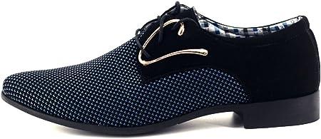 Poplover Hombre Zapatos con Cordones Zapatos de Vestido de Cuerdo para Necogio Boda 38-48