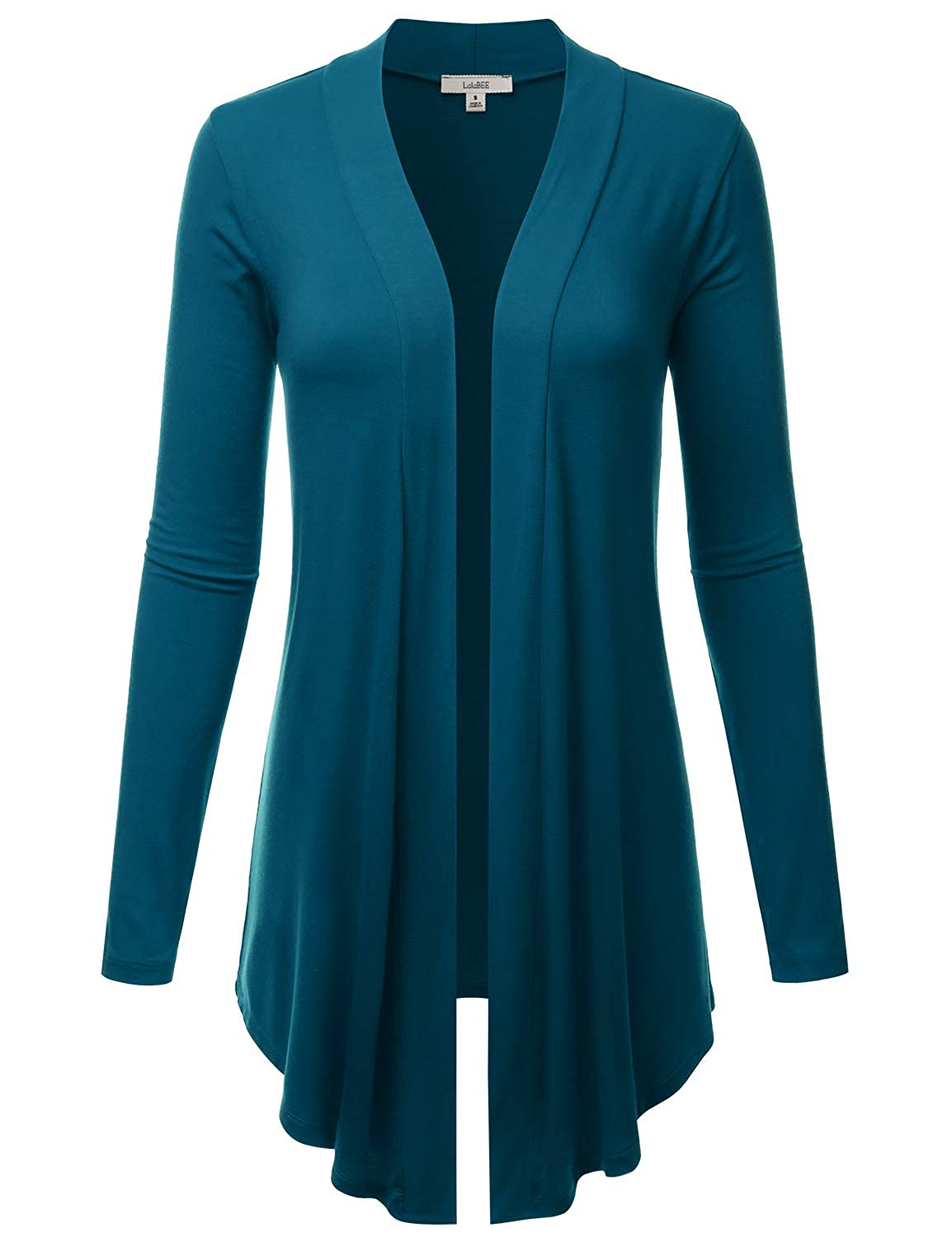 Lbt007teal LALABEE Women's Draped OpenFront Long Sleeve Light Weight Cardigan (S3XL)