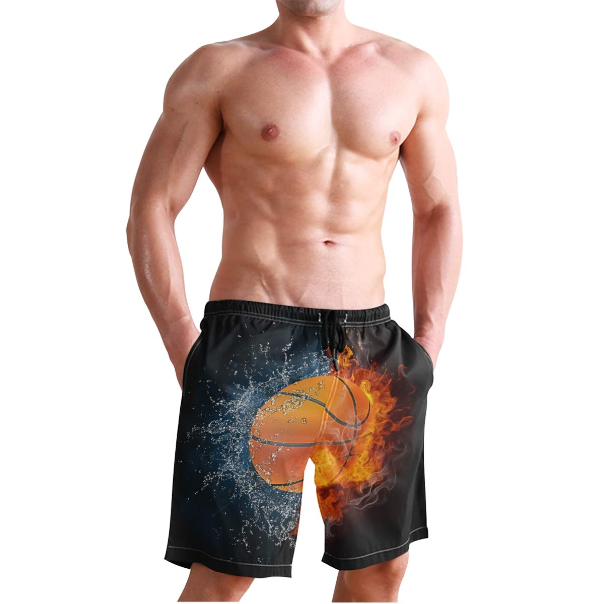 KUWT Mens Swim Trunks Sport Basketball Quick Dry Beach Shorts Summer Surf Board Shorts