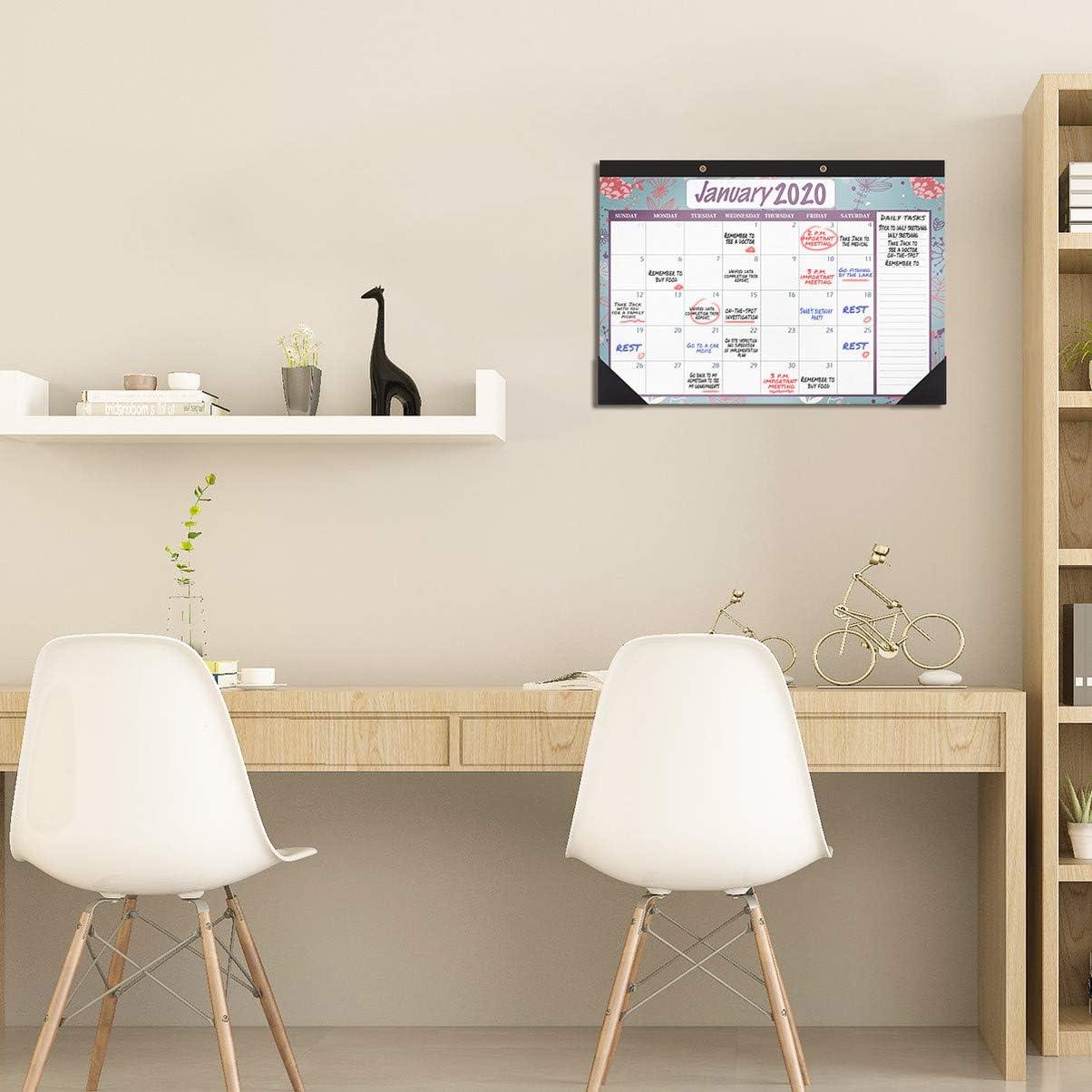 Desktop Wall Calendar for Office Home Daily Schedule Planner STOBOK 2020-2021 Year Monthly Desk Pad Calendar