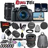 6Ave Canon EOS Rebel T6i DSLR Camera 18-55mm Lens, 55-250mm Lens TS-E 24mm Tilt-Shift - 3 Lens Combo International Version