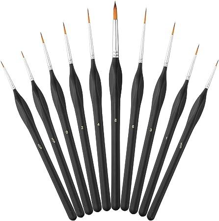pittura modello 10 pezzi di pennelli in miniatura con manici triangolari unghie viso arte dettagli fini scala Pennelli per dettagli mini pennelli per pittura ad olio acrilico per acquerelli