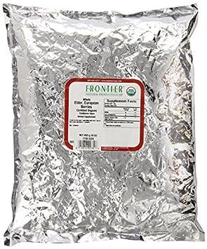 Frontier Organic Elder Berries Whole – 1 lb Pack of 3