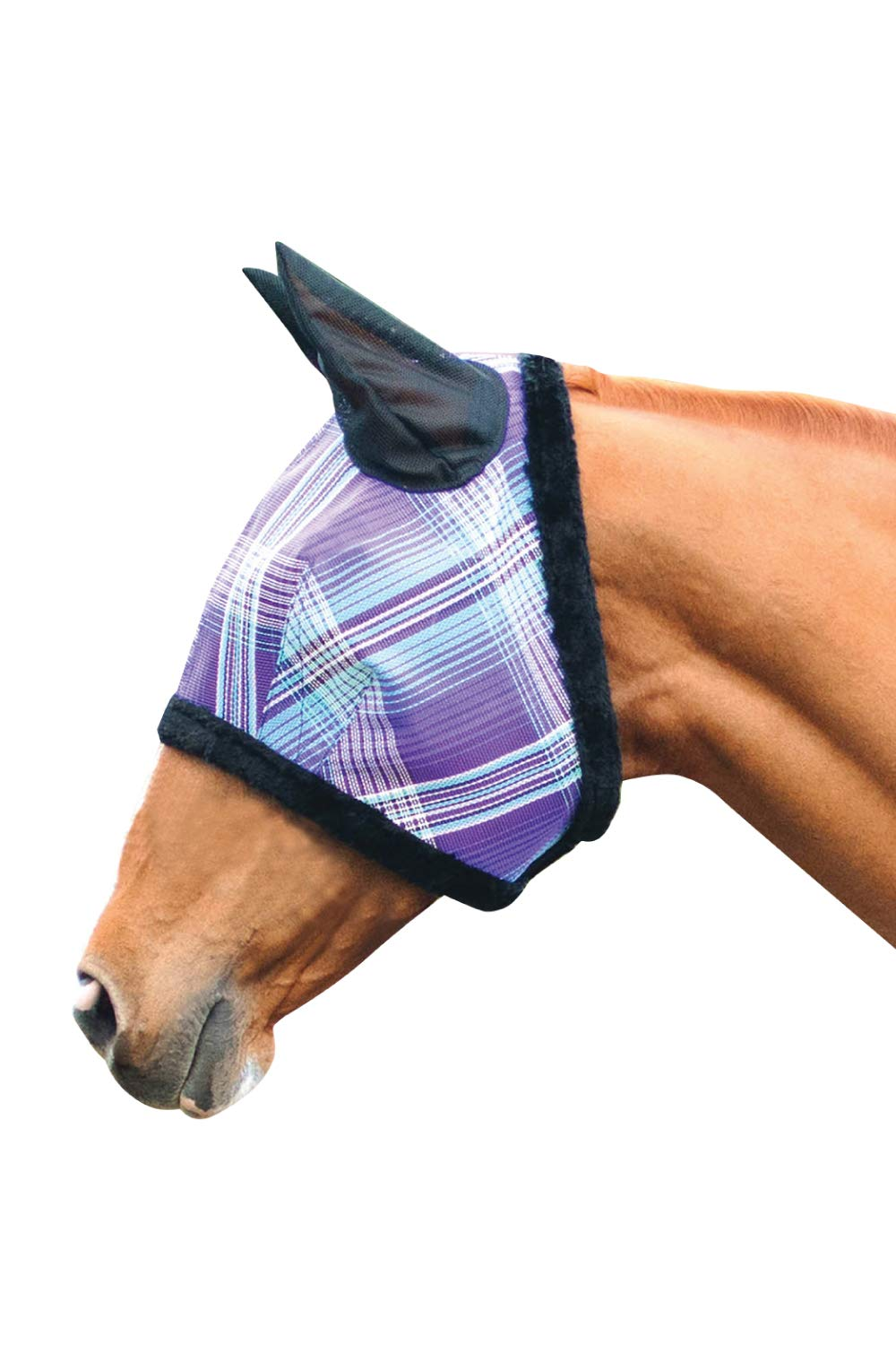 Kensington Pony Fly Mask with Soft Ears and Fleece Trim - Protects Face and Ears from Biting Insects and UV Rays While Allowing Full Visibility (P, Lavender Mint Plaid)