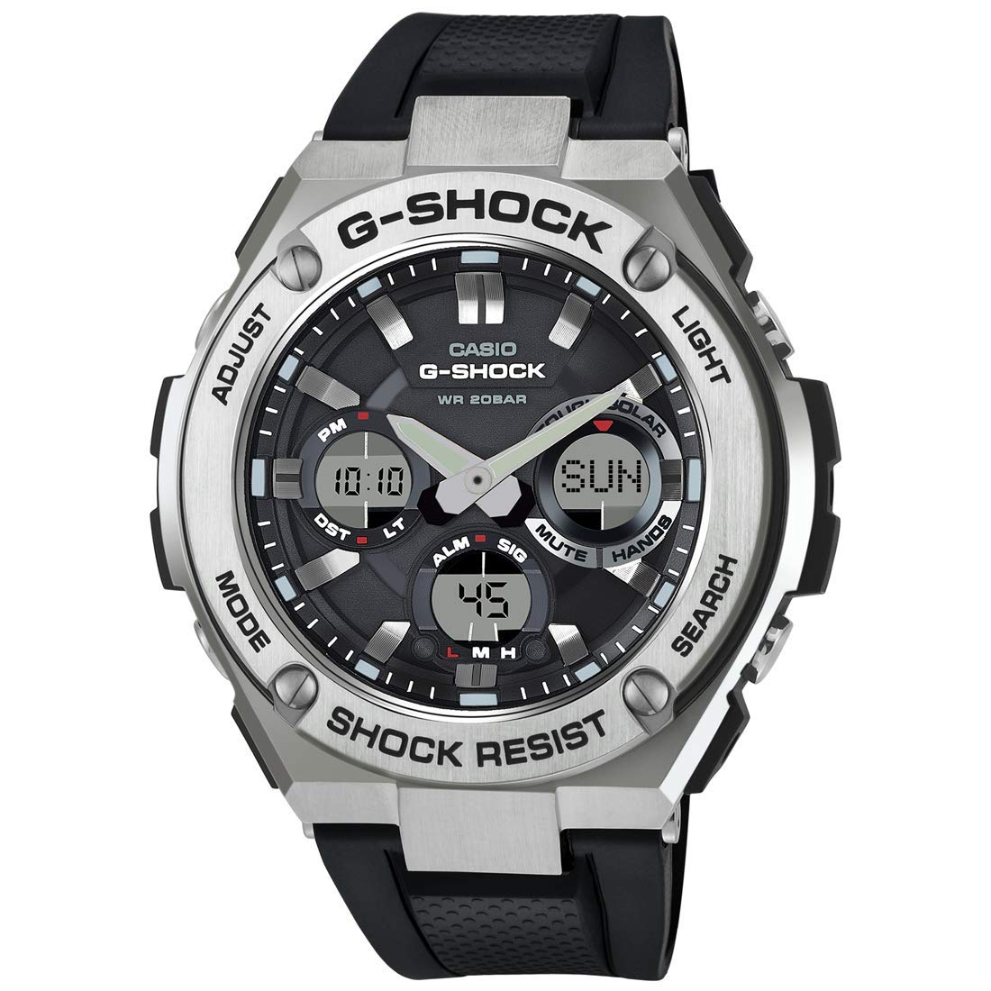 Men's G Shock Stainless Steel Quartz Watch with Resin Strap, Black, 26.8 (Model: GST-S110-1ACR)