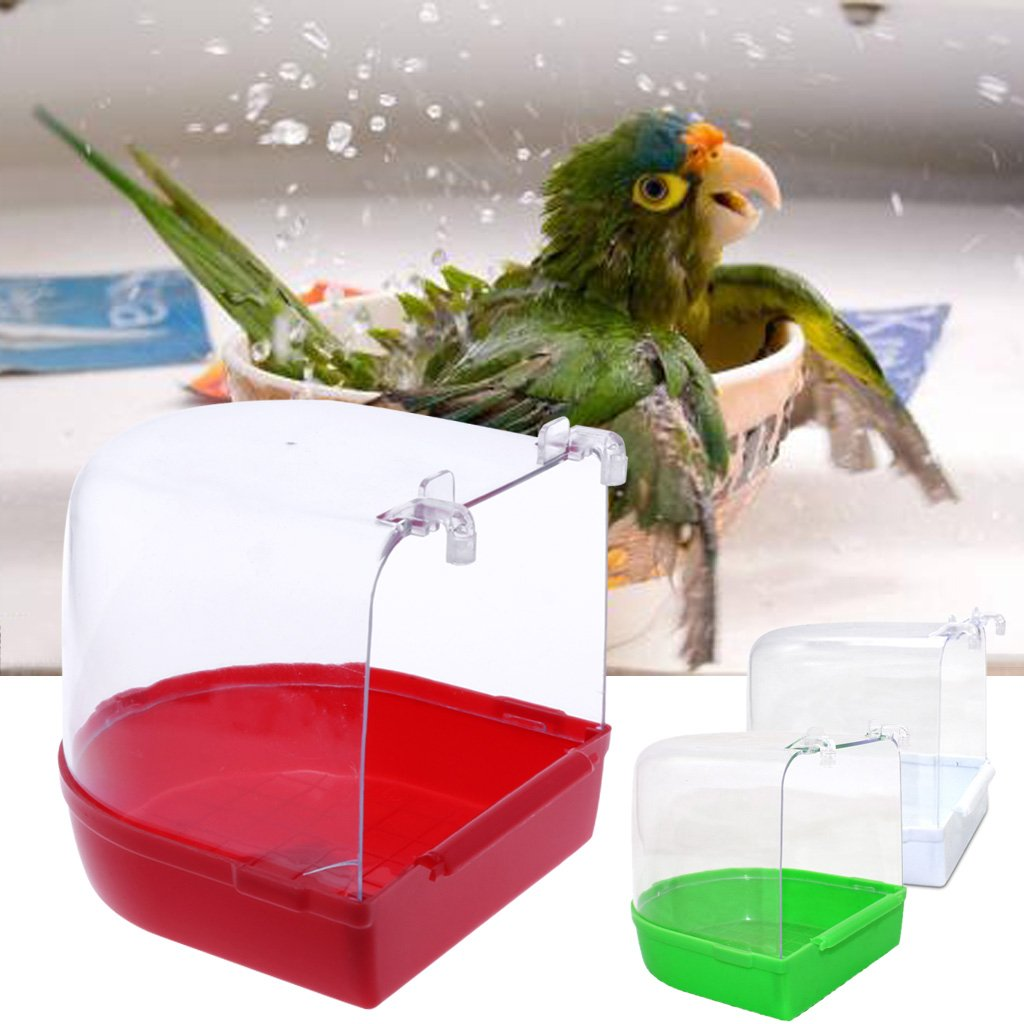 Jiamins Papagei Vogel Badewanne Box Vogelk/äfig Bad Dusche Stehend Box Bin Wash Space