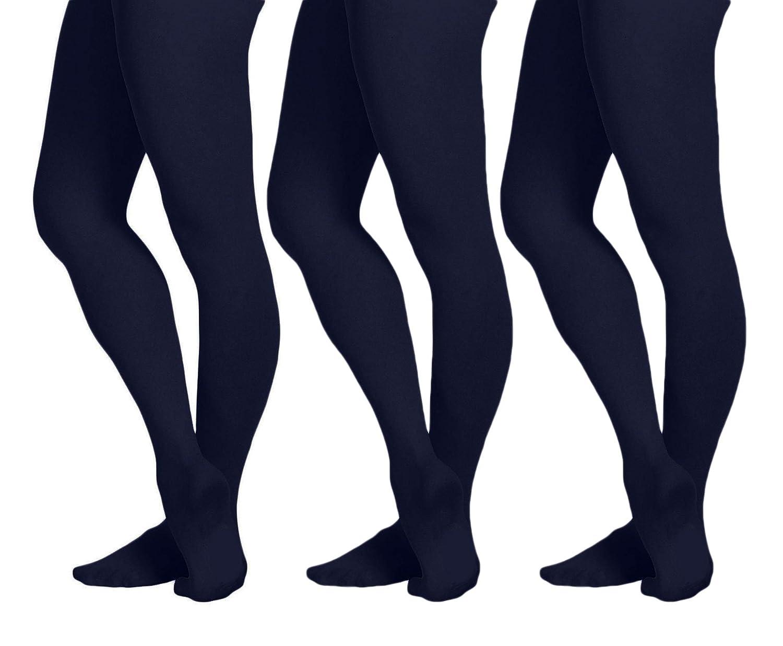 EMEM Apparel Girls Opaque School Uniform Microfiber Footed Tights