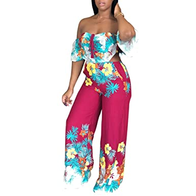 7593546e52c Amazon.com  Kafiloe Womens Off Shoulder Floral Print Flare Bell Bottom  Palazzo Pants Long Jumpsuits Romper Party Clubwear  Clothing
