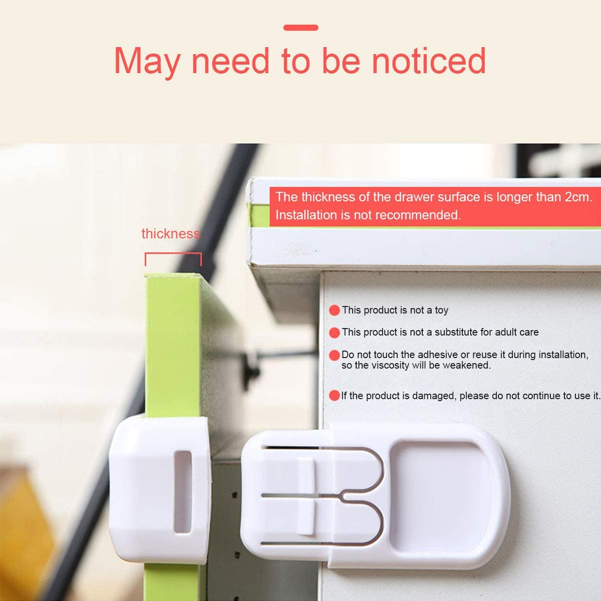 refrigerators No Drilling Need Fit for Drawers Wardrobes. Double Button Ulable 10 Pack Baby Safety Lock Drawer Lock
