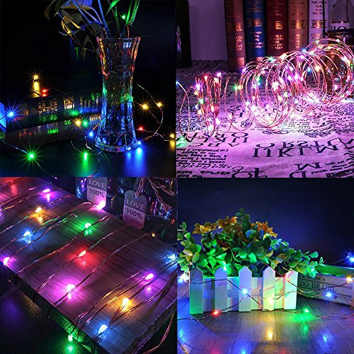 Solar String Lights Multi Color, Ankway 200 LED Fairy Lights 3-Strand Copper Wire Light 8 Modes 72 ft Solar Powered String Lights Waterproof Twinkle Lights for Christmas Tree House Bedroom Outdoor