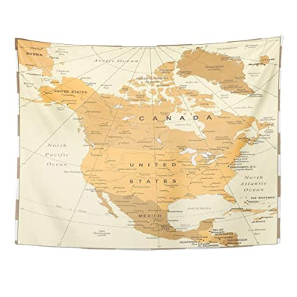 Map Of North America And Canada With Cities.Amazon Com Tarolo Decor Wall Tapestry Belize North America Map
