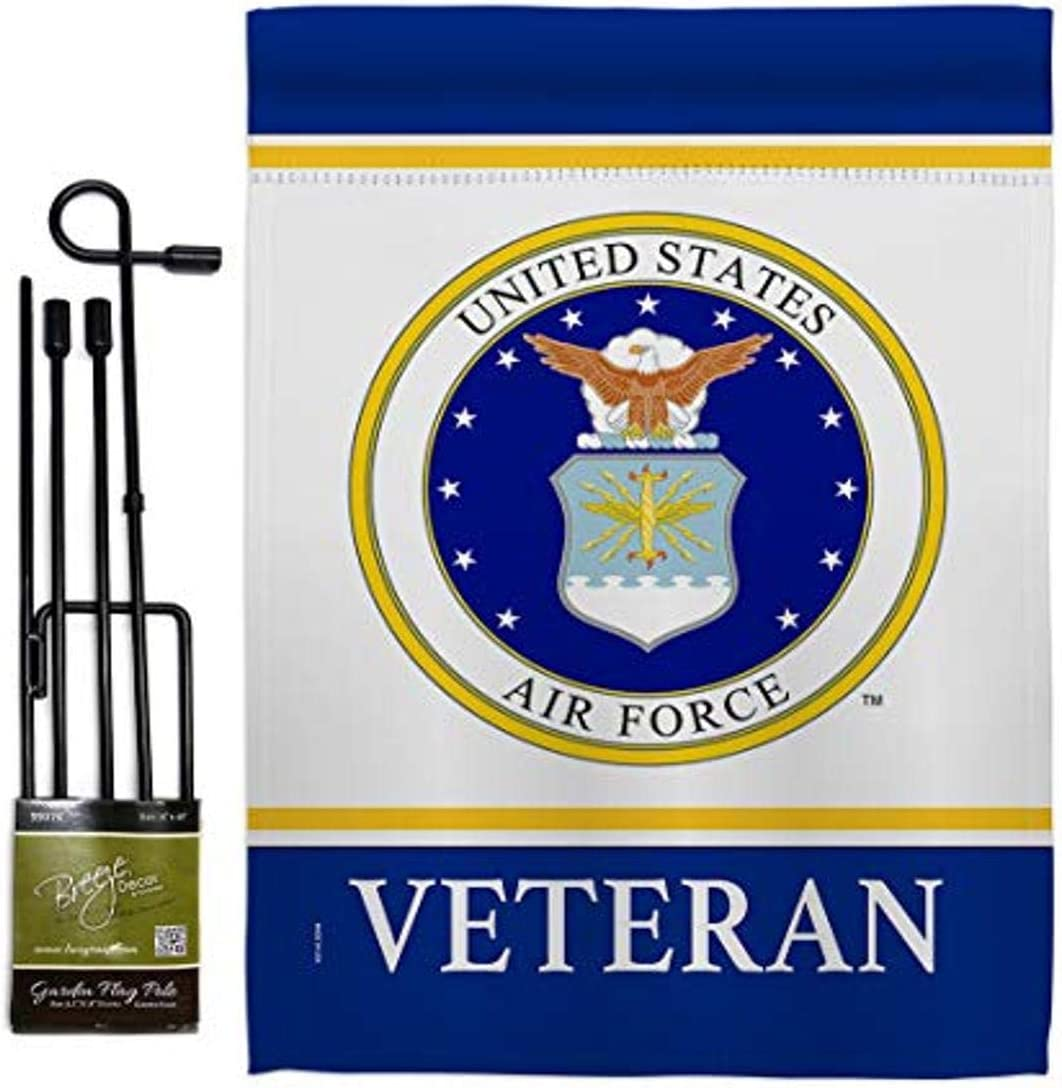 """USA Decoration Air Veteran Garden Flag Set with Stand Armed Forces USAF United State American Military Retire Official House Decoration Banner Small Yard Gift Double-Sided, 13""""x 18.5"""", Thick Fabric"""