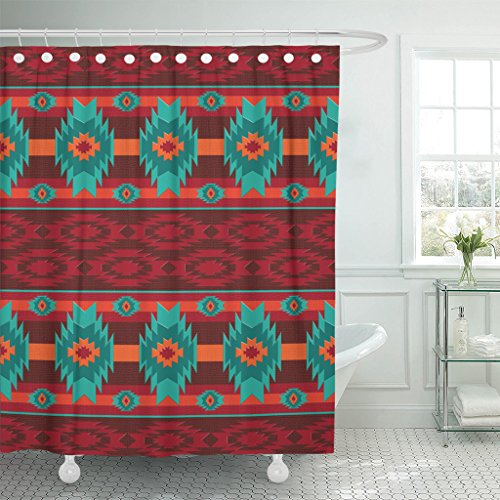 Emvency Shower Curtain Colorful Southwest Southwestern Navajo Abstract Aztec Waterproof Polyester Fabric 72 x 72 inches Set with Hooks ()