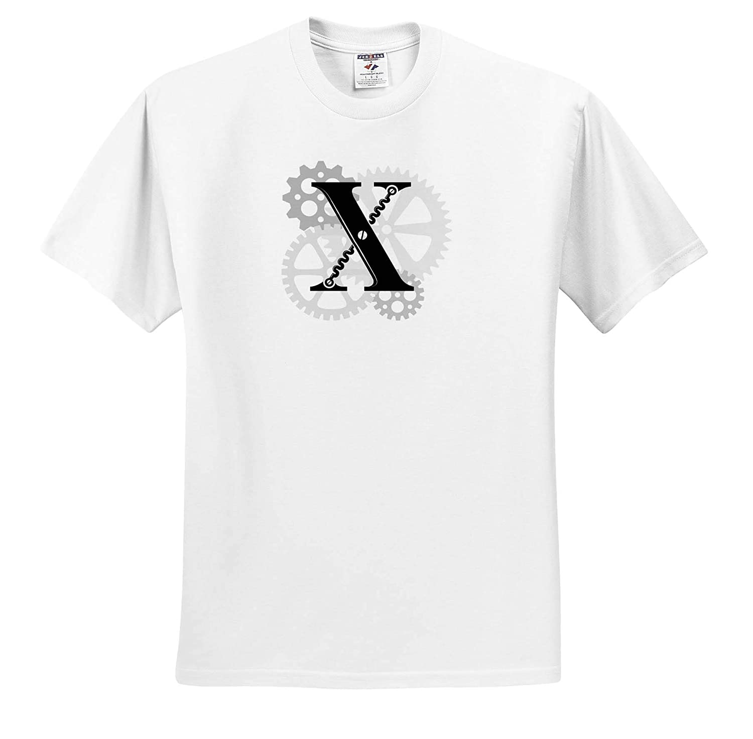 Machinery T-Shirts Gears 3dRose Alexis Design Grey cogs Supreme Black Letter X Mechanics Monogram Mechanics
