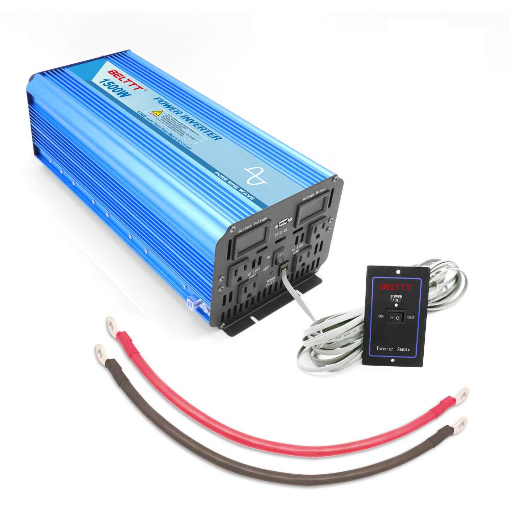BELTTT 1500W Pure Sine Wave Power Inverter 12V DC to 110 V AC with 4 AC Outlets and LCD Display,1 USB Charging Port, Remote Switch (3000W Peak) by BELTTT