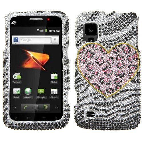 Playful Leopard With Full Rhinestones Faceplate Hard Plastic Protector Snap-On Cover Case For ZTE Warp (Leopard Faceplate)