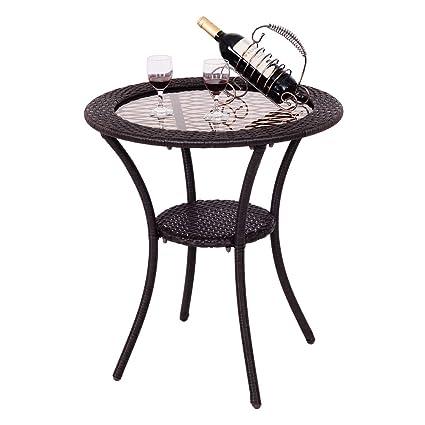 Round Rattan Wicker Coffee Table Glass Top Steel Frame Patio Furni W Lower Shelf