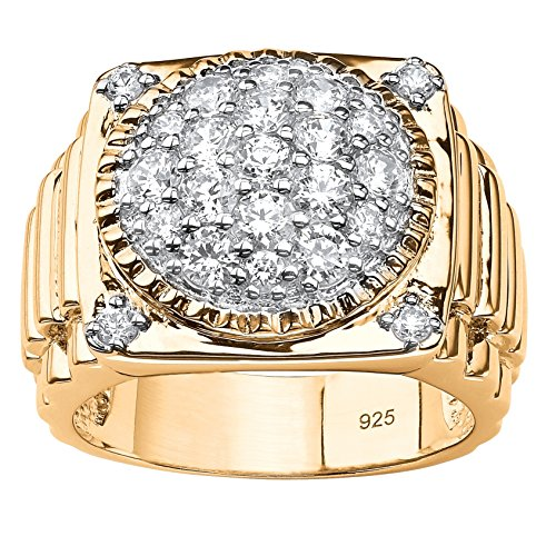 (Men's Pave White Cubic Zirconia 14k Gold over .925 Silver Step-Top Classic Cluster Ring Size 11)