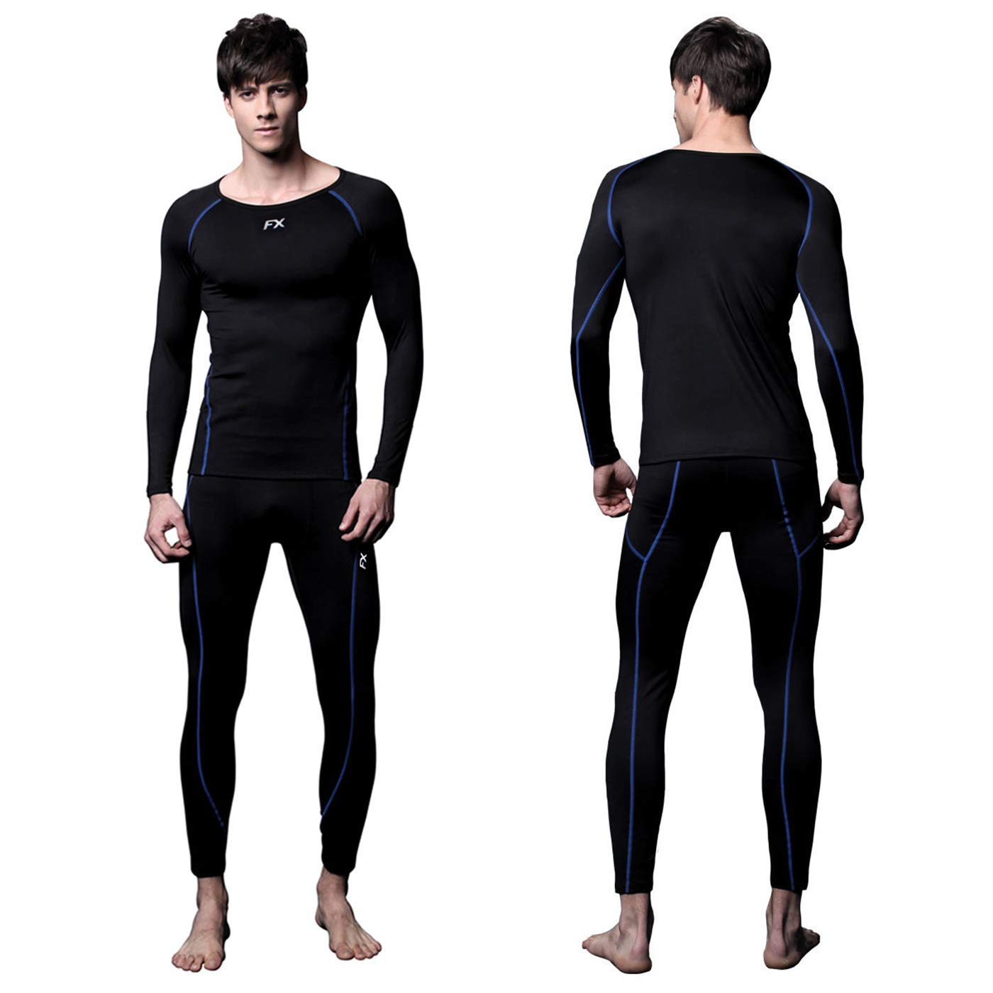 FITEXTREME Mens MAXHEAT Soft Fleece Long Johns Thermal Underwear Set Black L by FITEXTREME
