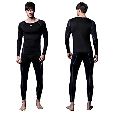 2beca32da1ed4 FITEXTREME Mens MAXHEAT Soft Fleece Long Johns Thermal Underwear Set Black S