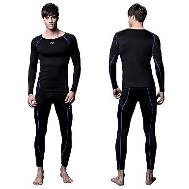 78ae04028d8f4 FITEXTREME Mens MAXHEAT Soft Fleece Long Johns Thermal Underwear Set Black S