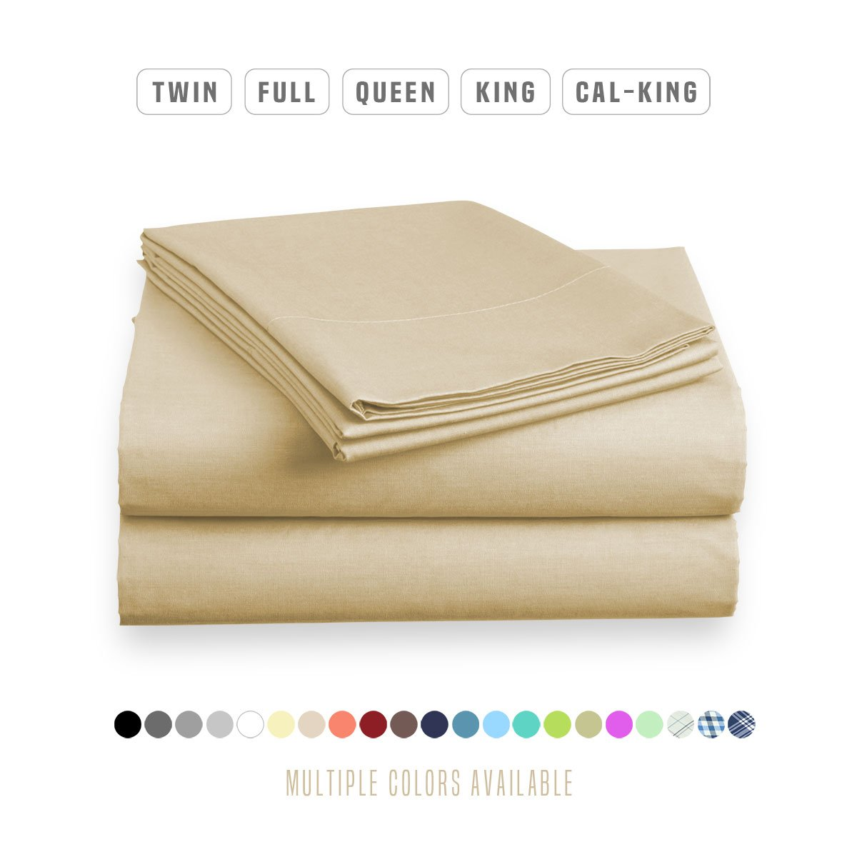 Luxe Bedding Bed Sheet Set - Brushed Microfiber 2000 Bedding Cal King, Sandy