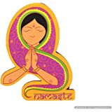 Skywalk Wooden Brass Fridge Magnet Namste Indian Lady Souvenir for Gifting