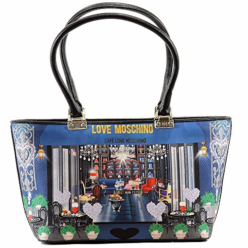 Love Moschino Women's Cafe Printed Large Fabric Satchel Handbag by Love Moschino