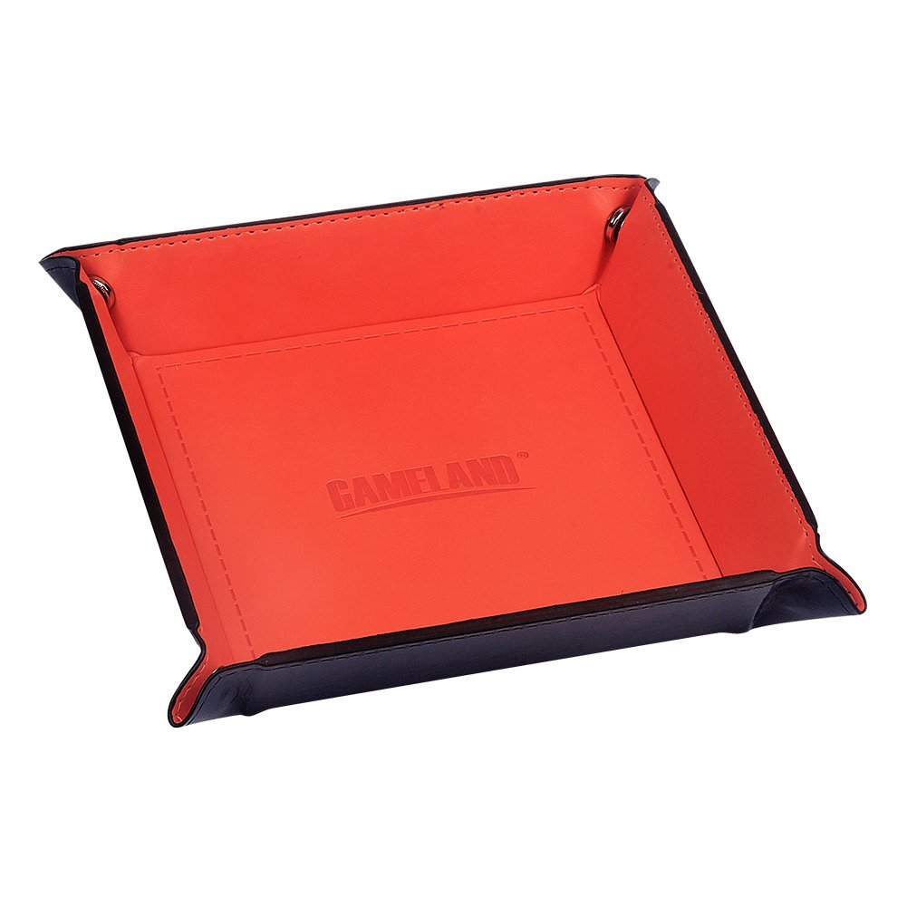 GAMELAND Eco Friendly PU Leather Collapsible Dice Tray for RPG DND and Other Table Games Tangerine