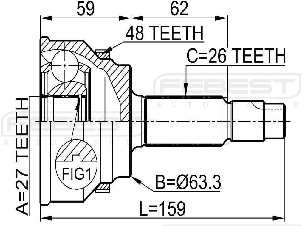 TOYOTA RAV4 ACA2 KLUGER ESTIMA TARAGO Outer Cv Joint 27x63.3x26