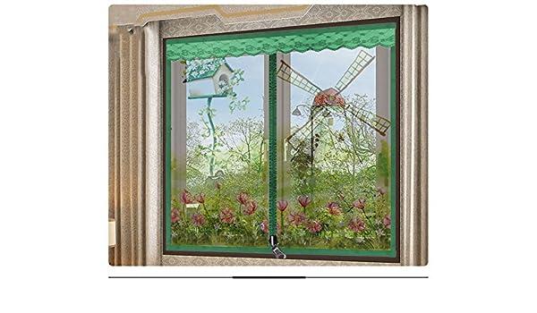 Pegatinas mágicas Pantalla de puertas para casas,El mosquito Pantalla de puertas con imanes Cremallera Magnético de la malla puerta del velcro No magnético Invisibilidad Se ajusta el tamaño de la ventana-A 100x150cm(39x59inch):