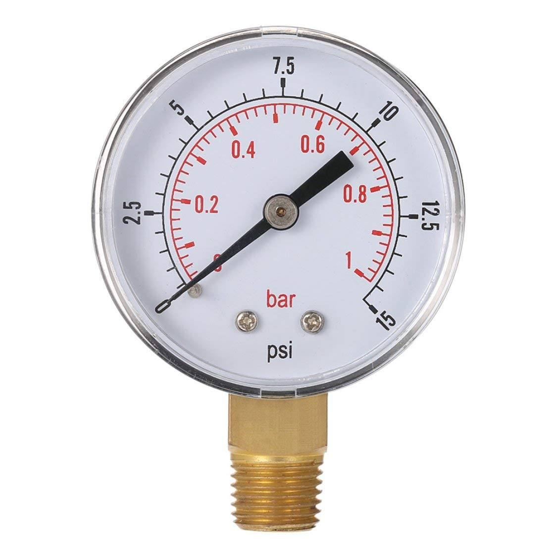 Mini-Niederdruck-Manometer f/ür Kraftstoff Luft /Öl oder Wasser 50mm 0-15 PSI 0-1 Bar 1//4 Zoll BSPT TS-50 Doppel-Skala-Messger/ät