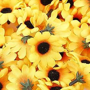IETONE 100 Pieces Artificial Gerbera Daisy Flowers Heads for DIY Wreath Gift Box Scrapbooking Craft Wedding Party (Yellow Sunflower) 2