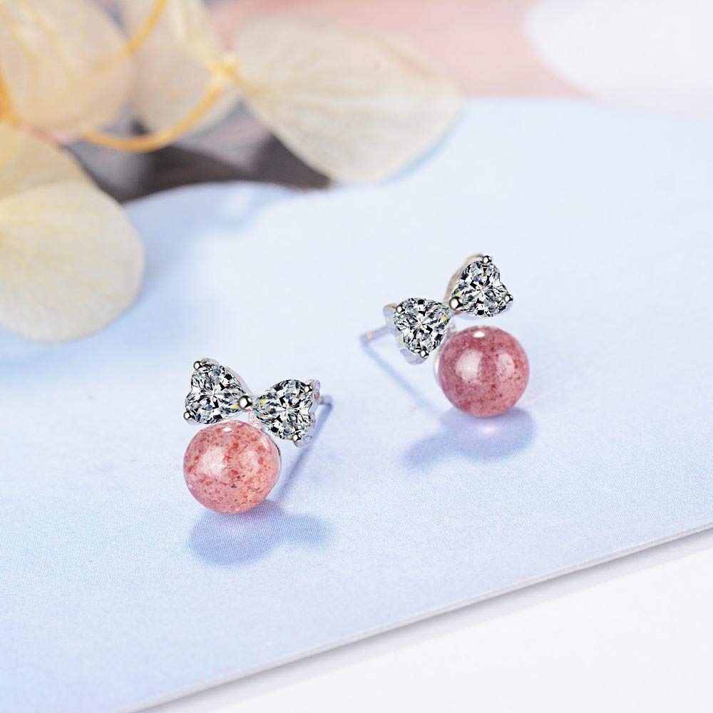 Dana Carrie Female Stud earrings diamond bow earrings strawberry crystal cute pink crystal jewelry,612mm,Pink